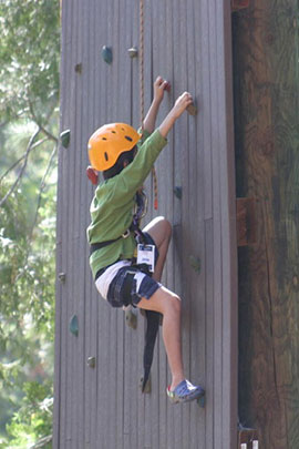 climbing wall land activities at camp davern