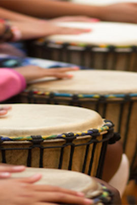 rhythm and drumming arts activities at camp davern