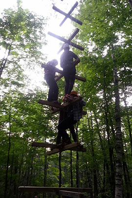 human jenga leadership activities at camp davern