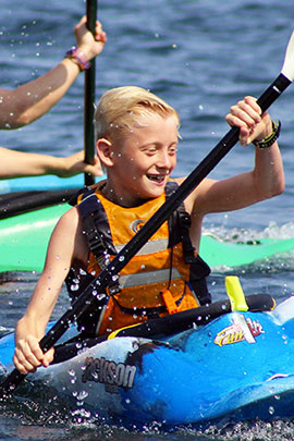 kayaking water activities at camp davern